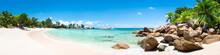 """Постер, картина, фотообои """"Sommer, Sonne, Strand und Meer auf den Seychellen als Panorama Hintergrund"""""""