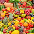 Collage fresh tasty vegetables and fruits.