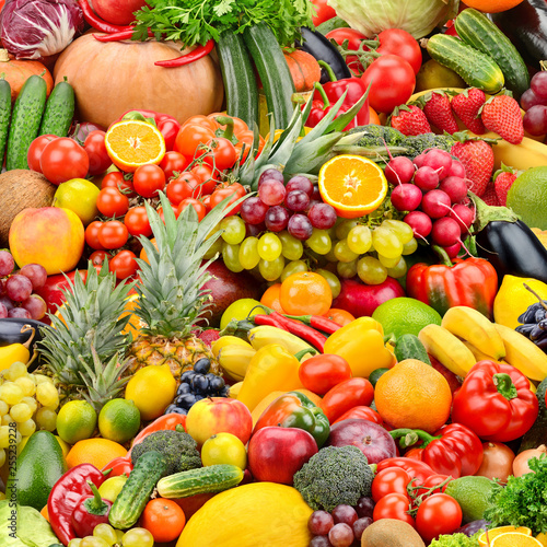 Collage fresh tasty vegetables and fruits. - 255239228
