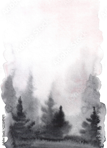 Watercolor hand drawn illustration with Forest. silhouette of a pine forest. Forest background for calligraphic inscription. - 255247471
