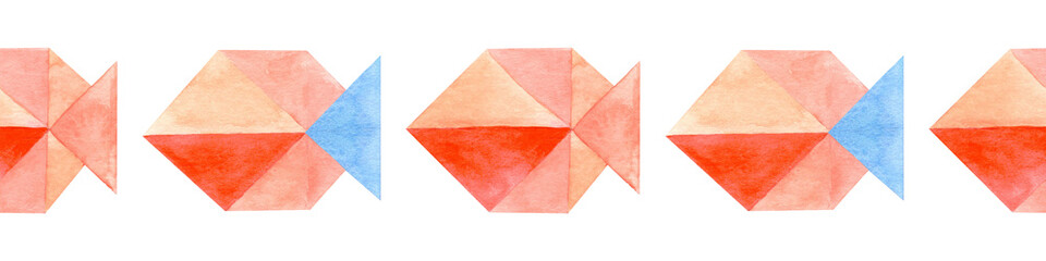 Watercolor seamless border with fishes in a row. Origami style. On a white background. Illustration.  © ale..na