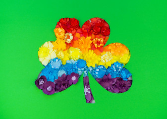 Feast day of St. Patrick. Green clover from paper. flower diy craft