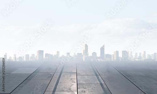 Foggy modern city . Mixed media - 255286459