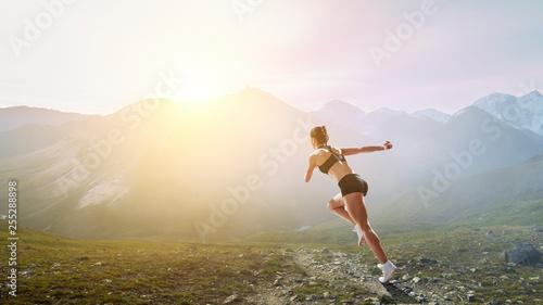 Sportswoman run race. Mixed media - 255288898