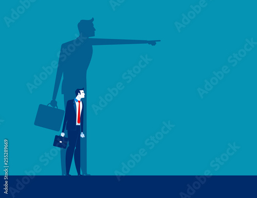 Businesswoman and shadow pointing to target. Concept business vector illustration,  Achievement, Direction.