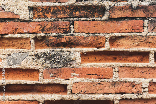 old red brick wall background - 255294620