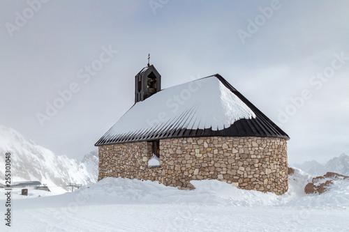 canvas print picture Kirche Maria Heimsuchung auf dem Gipfel der Zugspitze im Winter