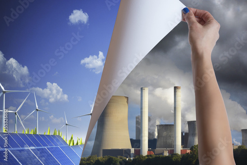 Changing polluting conventional power with renewable energy from the nature