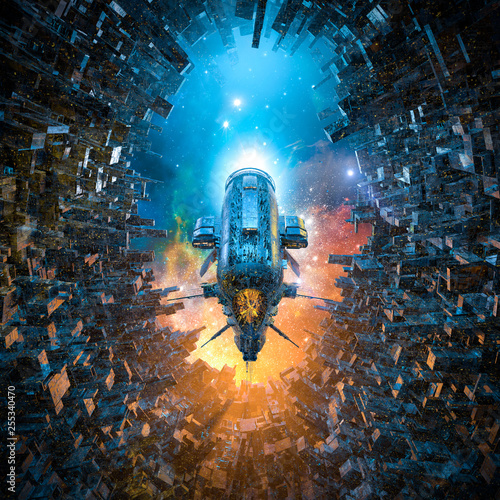 Leinwanddruck Bild Arrival on space colony / 3D illustration of heavy armoured battle cruiser spaceship gliding into futuristic city space station