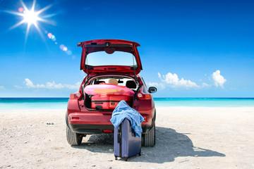 Summer car on beach and sea landscape