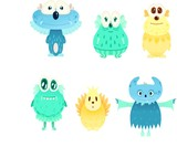 Cartoon cute monsters characters