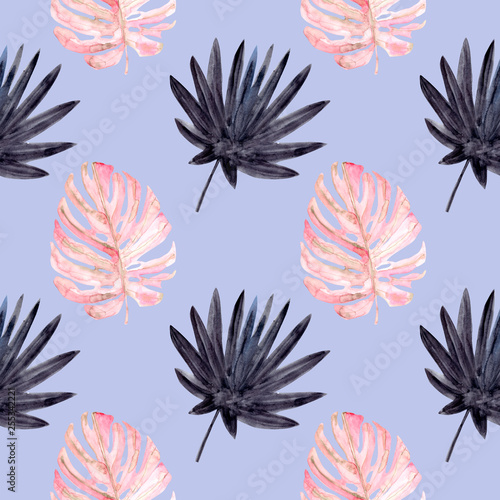 Beach cheerful seamless pattern wallpaper of tropical dark colorful leaves of palm trees and monstera on a blue background © illustratrice Manu