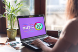 Online music concept on a laptop screen