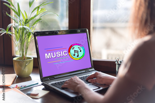 Online music concept on a laptop screen - 255347033