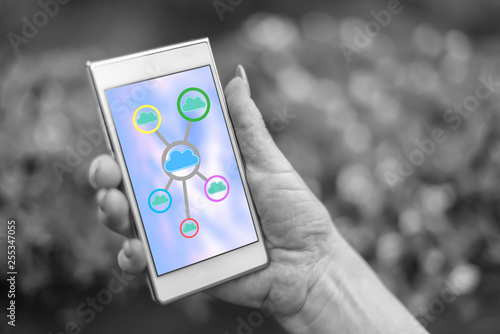 Cloud networking concept on a smartphone