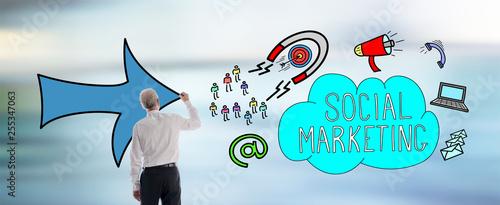 Leinwanddruck Bild Social marketing concept drawn by a man