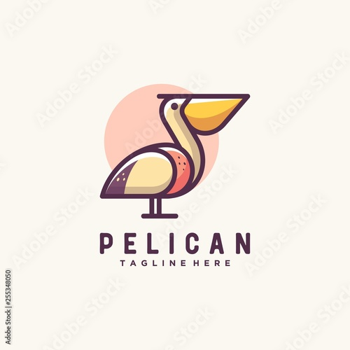Pelican illustration vector Design template