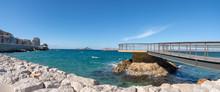 "Постер, картина, фотообои ""Marseille, vue panoramique de la Plage des Catalans - Marseille Famous beach of the Catalans panoramic View"""