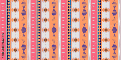 kat geometric folklore ornament. Tribal ethnic vector texture. Seamless striped pattern in Aztec style. Figure tribal embroidery. Indian, Scandinavian, Gypsy, Mexican, folk pattern trendy design - 255351680