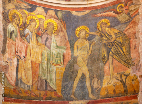 PARMA, ITALY - APRIL 16, 2018: The fresco Baptism of Jesus in byzantine iconic style in Baptistery from craftsmen from the Emilia region from 14. - 15. cent. © Renáta Sedmáková