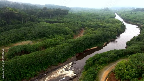 Aerial view. Tropical river among green rainforest. Africa
