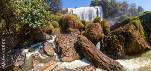 Elephant waterfall in Vietnam panorama - 255367621