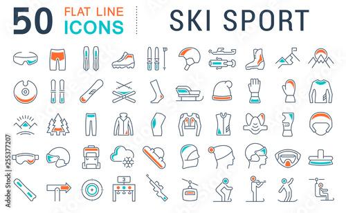 Set Vector Line Icons of Ski Sport.