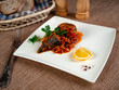 Mackerel stew with vegetables - 255378653
