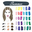 Stock vector seasonal color analysis palette. Hand drawn girl with summer type of female appearance.