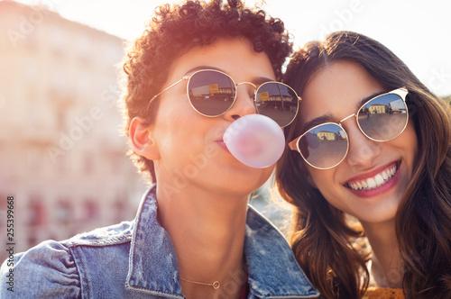 Happy young women enjoying outdoor