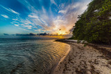Beautiful sunset in Bois Jolan beach in Guadeloupe