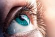 female blue eye close-up. Blue human eye macro shot