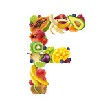 Letter F made of different fruits and berries, fruit alphabet isolated on white background