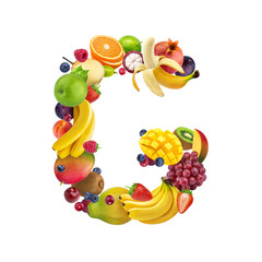 Letter G made of different fruits and berries, fruit alphabet isolated on white background