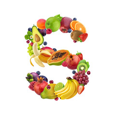 Letter S made of different fruits and berries, fruit font isolated on white background, healthy alphabet