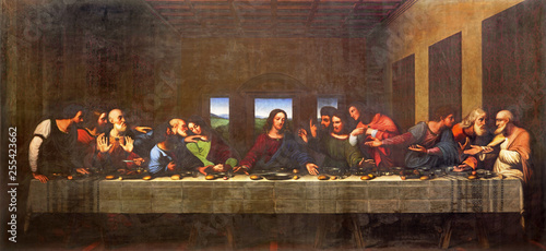 TURIN, ITALY - MARCH 13, 2017: The painting of Last Supper in Duomo after Leonardo da Vinci by Vercellese Luigi Cagna (1836).