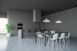 Leinwanddruck Bild - Gray kitchen corner with countertops and table