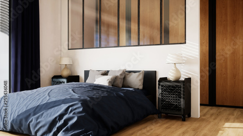 chambre avec dressing, verrière et grand lit 01 © sebastien