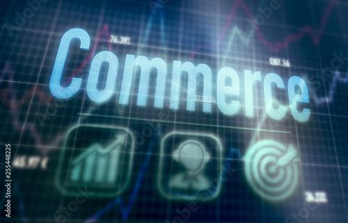 Commerce concept on a blue dot matrix computer display.