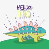 Fototapeta Dinusie - cute ankylosaurus wildlife dino animal © Stockgiu