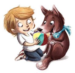 niño jugando a la pelota con perro