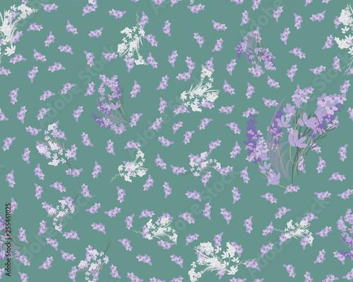 Floral lavender retro vintage background, illustration - 255461025