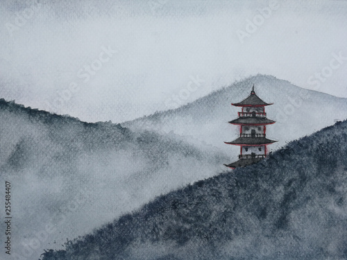 watercolor hand drawn painting landscape pagoda mountain in the fog.  Traditional oriental. asia art style.	 © atichat