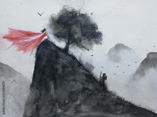 watercolor landscape hand drawn the man hiking mountain meet oriental woman .Traditional  asia art painting style. © atichat