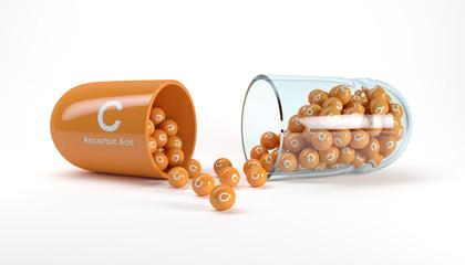 3d rendering of a vitamin capsule with vitamin C - ascorbic acid
