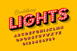 Broadway lights, retro style light bulb font, vintage alphabet, letters and numbers