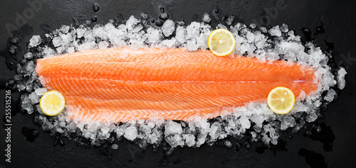 Fresh raw salmon fish steak on ice over dark stone background. - 255515216