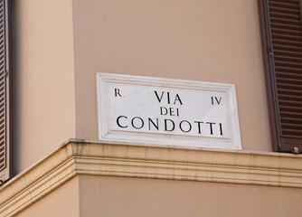 Italian Street Name of Via Condotti or officially Via dei Condot