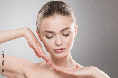 Beauty woman face portrait - 255528874
