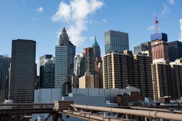 The skyline of Manhattan, New York seen from the Brooklyn Bridge